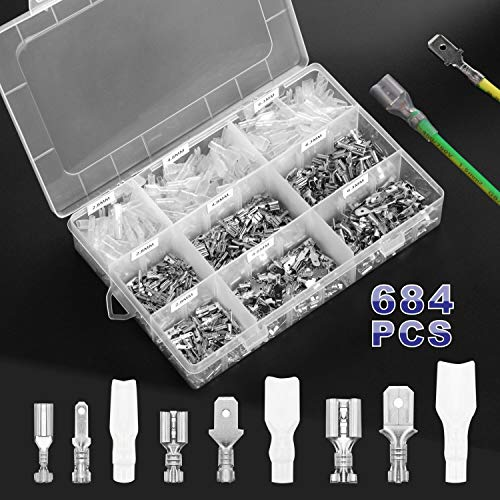 684Pcs 2.8/4.8/6.3mm Male Female Spade Connectors Wire Crimp Terminal Block with Insulating Sleeve Assortment Set for Electrical Wiring Car Boat Audio Speaker Rocker Switch Quick