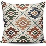 Inicio Funda de Almohada marrón Azul y Verde Símbolo Azteca Mezcla de Color estilizada Funda de Almohada Cuadrada Funda de Almohada