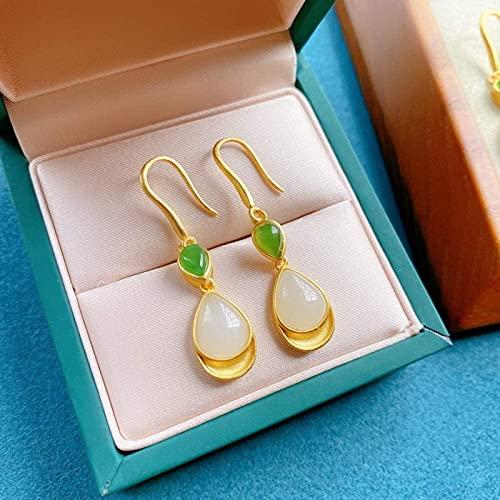 UrbanInspirations Antiguos Pendientes de Plata Antiguo Tian Jade Jade Gold Jasper Drip Pendientes de Goteo de Agua Personalizados Pendientes de Plata Pura Personalizados
