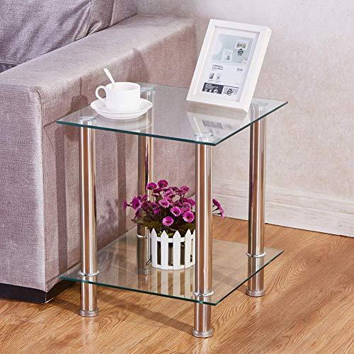 GOLDFAN Table d'appoint Verre Table Basse Salon Moderne Bout de Canapé Table avec 2-Niveaux Carré