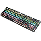 K820 Retro Steampunk Gaming Mechanical Keyboard-Blue Switch-RGB LED Backlit Illuminated Keyboard,USB Wired,Typewriter-Style,Plating 104 Key Round Keycaps,for Game and Office,for Laptop Desktop (Black)