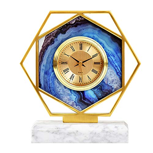 Retro Table Clocks,Classic Metal Marble Desk Clock, HD Glass Silent Mantle Clocks, Battery Powered,for Living Room Bedroom Office Kitchen accurate (Color : Blue)