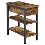 YAHEETECH Narrow End Table with Drawer & Open Storage Shelf, Industrial Sofa Side Table for Living Room/Small Spaces, Wood Accent Table Chair Side Table with Storage Cabinet, Rustic Brown