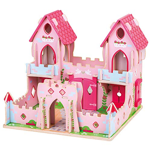Bigjigs Toys Wooden Fairy Tale Palace - Pink Castle Playset