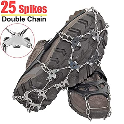 25 Spikes Crampons Ice Cleats Traction Snow Grips Black Color X-Large Size for Boots Shoes,Anti-Slip Stainless Steel Spikes,Microspikes for Hiking Fishing Walking Climbing Jogging Mountaineering.