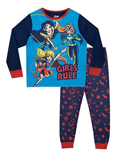 DC Comics Pijamas de Manga Larga para Niñas DC Superhero Girls Azul 9-10 Años