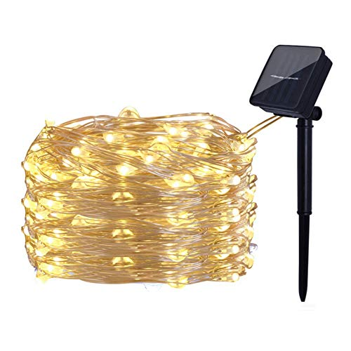 BrainKer Solar String Lights 33FT 100 Micro LED Fairy Copper Wire Lights Solar Powered 8 Modes for Outdoor Patio Garden Gate Yard Party Wedding Christmas Decor,Warm White