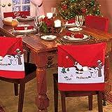 ZSWQ 4Pcs Cubierta de la Silla de Navidad Navidad Cocina Comedor Silla Cubiertas Decoracion Articulo de Decoración de Mesa Accesorio de Adorno para Fiesta y Cena