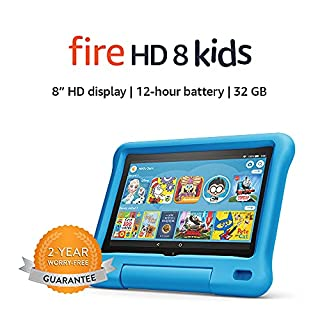 """Fire HD 8 Kids tablet, 8"""" HD display, ages 3-7, 32 GB, Blue Kid-Proof Case (B07WDDT3G5) 