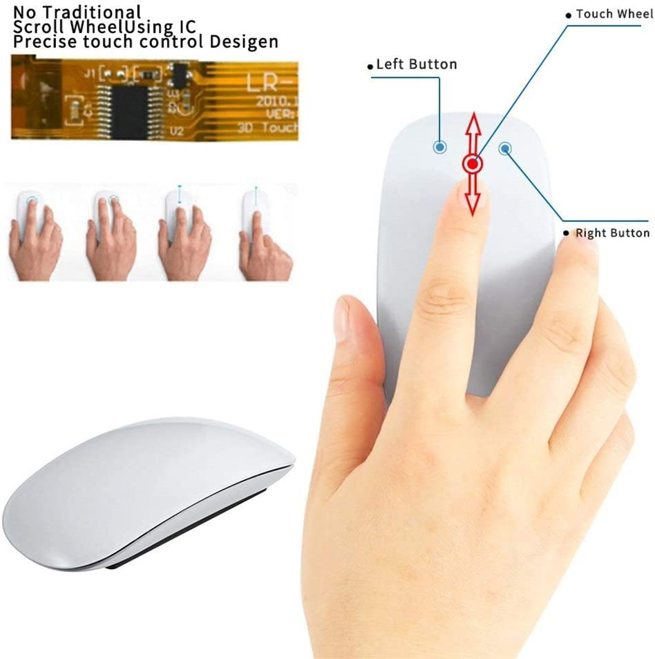 Stylish Touch Wireless Optical Mouse for PC laptops Color : White GXF-Yueyin Bluetooth Mouse