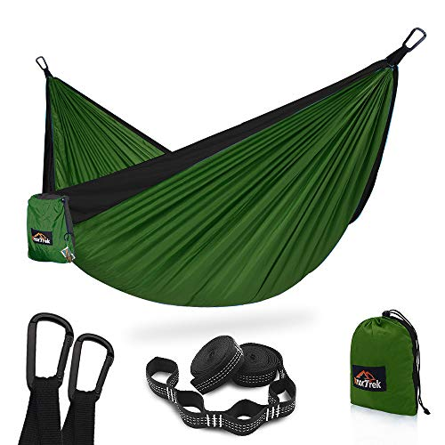 AnorTrek Camping Hammock, Super Lightweight Portable Parachute Hammock with Two Tree Straps (Each 5+1 Loops), Single & Double Nylon Hammock for Camping Backpacking Travel Hiking (Olive Green&Black)
