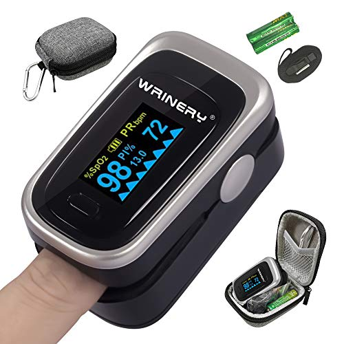 Oxygen Saturation Monitor, Pulse Oximeter Fingertip, Oxygen Monitor, O2 Saturation Monitor, OLED Portable Oximetry with Batteries, Lanyard (Royal Black-Silver)