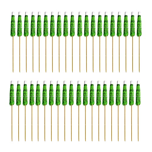 Athemeet Palillos de Paraguas para Bebidas Palmera de Coco, Palillos de Papel de Palmera de Coco y Palillos de Panal de Palmeras, Palillos de Dientes Decorativos para cócteles, 40 Piezas