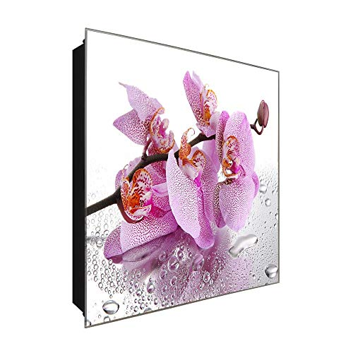 DekoGlas Schlüsselkasten 'rosa Orchidee' 30x30 Glas, inkl. Haken Schlüsselbrett Schlüssel-Box Design Aufbewahrung