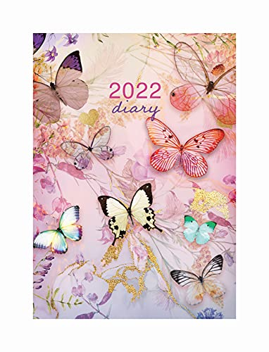 2022 Wiro Spiral Bound A5 Day to View Page a Day Diary – Pink Butterfly Organiser Planner