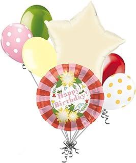 Jeckaroonie Balloons 7 Pc Pretty Flower Happy Birthday Balloon Bouquet Grasshopper Mum Stripes