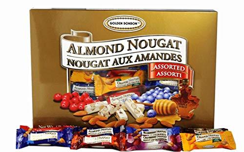 Golden Bonbon Gluten Free Almond Nougat Candy (Assorted Gift Box 8.8 oz, 1 Box) Pack of 10