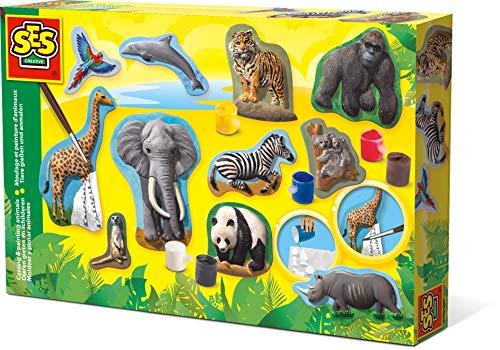 SES Creative Moldear y pintar animales SES, multicolor (01132) , color/modelo surtido