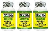 NAT-RUL Omega 3 Enteric Coated 1000mg - 90 softgel (3 Pack)