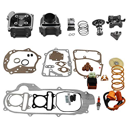 GY6 Cylinder Rebuild Kits Kymlaa 100cc Big Bore Kit for 69mm Valve 49CC 50CC 139QMB Moped Scooter Engine 50mm Bore Upgrade Set with 6pin Racing CDI Ignition Coil Performance Spark Plug Clutch Spring