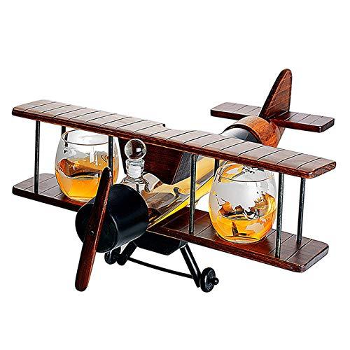 KPTKP Decantador de Whisky en Forma de avión 1000ml con Dos Copas de Vino de Vidrio 310ml, tamaño Grande, Vidrio soplado a Mano y Material de Madera Maciza, catadores de vinos