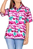 LA LEELA Women's Camp Hawaiian Blouse Shirt Button Down Up Swim Wear L Pink_X28