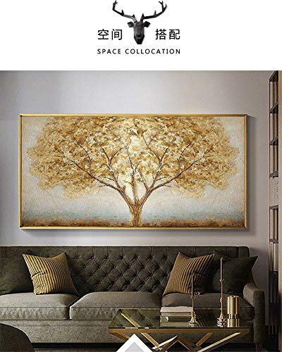 Geiqianjiumai eetkamer slaapkamer woonkamer kunst wanddecoratie linnen schilderij gelukkige boom gouden olieverfschilderij frameloos schilderij