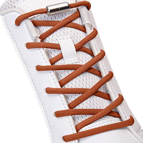 SULPO Elastische Schnürsenkel ohne Binden - Elastisch, mit Metall-Verschluss (Braun)