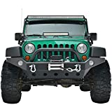 Full Width Front Bumper Compatible with 07-18 Jeep Wrangler JK and JK Unlimited Rock Crawler With Fog Lights...