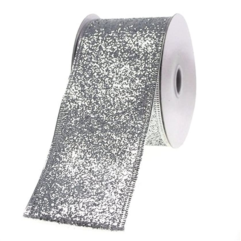 Homeford Firefly Imports Glitter Ribbon Wired Edge, 2-1/2-Inch, 10 Yards, Silver, 2-1/2