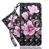 IMEIKONST Huawei Y5 2019 Hülle PU Leder 3D Muster Magnetic Clasp Schutzhülle bookstyle Card Holder Flip Brieftasche Ständer Tasche Handyhülle für Huawei Y5 2019 Pink Flower Black BX