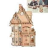 Wandisy Regalo De Abril Juego de Rompecabezas de Villa de Madera 3D, Modelo de ensamblaje de Rompecabezas Regalo para niños Adultos Juguete Manualidades educativas