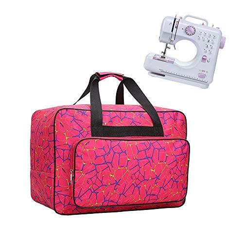 JanTeelGO Bolso para Máquina de Coser, Bolsa de nylon universal, funda de transporte acolchada universal con bolsillos y asas (Rosa)
