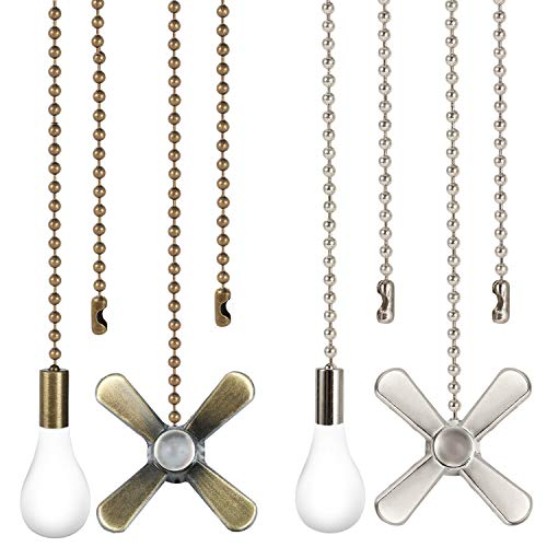 Ceiling Fan Pull Chain 4PCS 2 Sets Pull Chain Extension with Connector Copper Beaded Ball Pull Chain for Ceiling Light Fan 2 Colors Bronze and White Nickel Classic Ceiling Fan Pull Cord Pendant