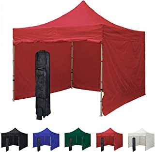 Vispronet 10x10 Pop Up Canopy Tent and 4 Side Walls – Commercial Grade Steel Frame with Flame Retardant and Water-Resistant Canopy Top and Sidewalls – Wheeled Canopy Bag and Stake Kit Included (Red)