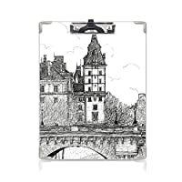 クリップボード アルファベット パリの装飾 金属製強力クリップ ポンヌフの歴史的なフランスのランドマーク都市建築図面黒と白からの眺め