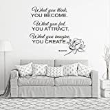 BATTOO Buddha Wall Decals Quote What You Think You Become. What You Feel You Attract. What You Imagine You Create. - Yoga Gym Decor Vinyl Decal Sticker Art Mural Home Decor(Black, 22' WX19.5 H)