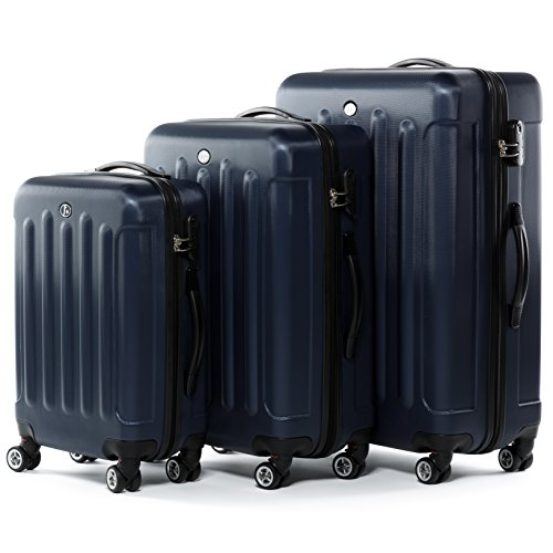 FERGÉ Kofferset Hartschale 3-teilig Lyon Trolley-Set - Handgepäck 55 cm, L und XL 3er Set Hartschalenkoffer Roll-Koffer 4 Rollen blau
