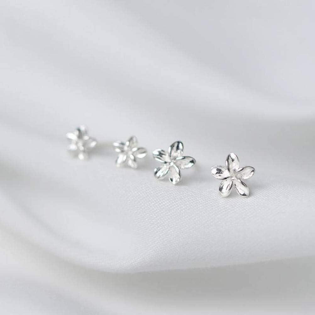 4.5mm WOZUIMEI S925 Silver Flower Earrings Womens Korean Lovely Delicate Sweet Five Flower Earrings Ear Jewelry Plumeria Jewelry925 Silver