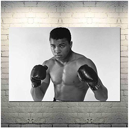 Gopfl Muhammed Ali mit Boxhandschuhen Wandkunst Poster Leinwand Malerei Home Decor Bilder Druck auf Leinwand -20X28 Zoll ohne Rahmen 1 PCS