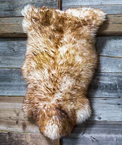 ESTRO Sheepskin Rug Fluffy White Brown Cream Rug for Bedroom Sheep Fur Genuine Animal...