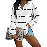 OutTop Women Long Sleeve Tees Shirt Winter Casual Striped Loose Fit Drawstring Button Down T Shirt Blouse Top Pullover (White, L)