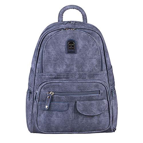 OBC Damen Rucksack Tasche Backpack Tagesrucksack Leder Optik Cityrucksack Stadtrucksack Schultertasche Handtasche Shopper Daypack (Dunkelblau/Navy)