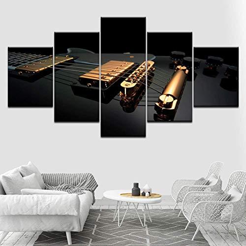 LSDAMN 5 imágenes Guitarra Dorada y Negra 5 Piezas Fondos d