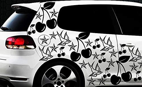 Werbedesign Lot de 87 Autocollants en Forme d'étoile Motif Cerisier SWA Oldschool 87 pièces