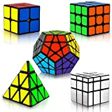 Coolzon Rubix Cube Set, Magic Speed Cube Bundle 2x2 3x3 Pyraminx Pyramid Megaminx Mirror Cube, Easy Turning 3D Puzzle Cube Games Toy Gift for Kids Adults, Pack of 5