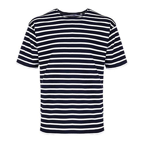 Bretonisches Fischerhemd Kurzarm Beachwear blau/weißgestreift von Modas Größe 54 (Damen) / 62 (Herren)