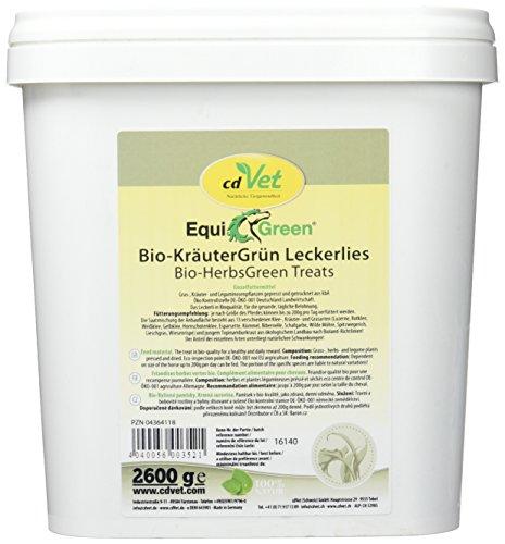 cdVet Naturprodukte EquiGreen Biologische kruidengroen lekkernijen 2,6 kg - paard - enkel voedermiddel - gezonde beloning - vrij van graanzetmeel + additieven - hoogwaardig additief -