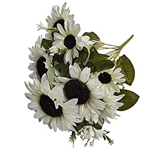 FightingFly Artificial Flowers, 20″ Silk Fake Sunflowers, 10 Heads Floral Decor Bouquet Indoor Outdoor Wedding Home Office Decoration Festive Furnishing, White