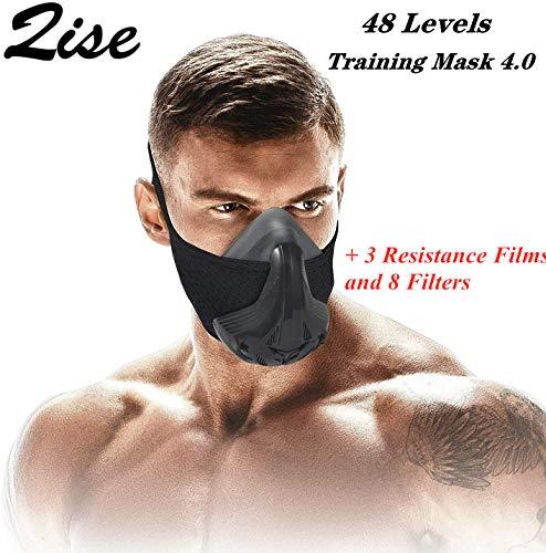 QISE Trainingsmaske Widerstand Atematmung Sauerstoff Sport Fitness Maske 48 Atemwiderstandsstufen und Nachahmung des Trainings in großen Höhen zum Laufen Radfahren Fitness Joggen Klettern Cardio
